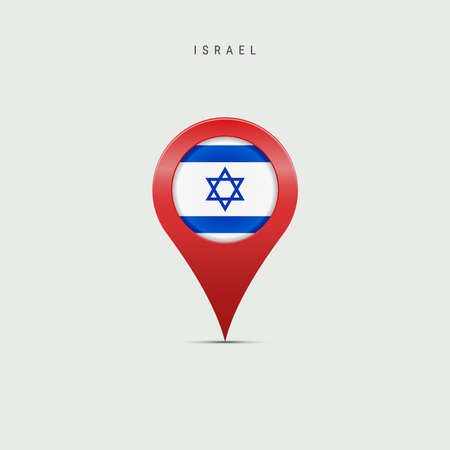 Teardrop map marker with flag of Israel. Israeli flag inserted in the location map pin. Vector illustration isolated on light grey background. Vector Illustratie