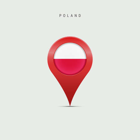 Teardrop map marker with flag of Poland. Polish flag inserted in the location map pin. Vector illustration isolated on light grey background. Vector Illustratie