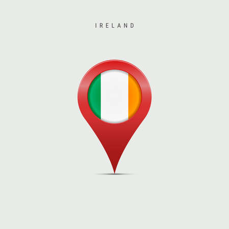 Teardrop map marker with flag of Ireland. Irish flag inserted in the location map pin. Vector illustration isolated on light grey background. Vector Illustratie