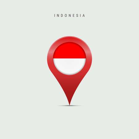 Teardrop map marker with flag of Indonesia. Indonesian flag inserted in the location map pin. Vector illustration isolated on light grey background. Vector Illustratie