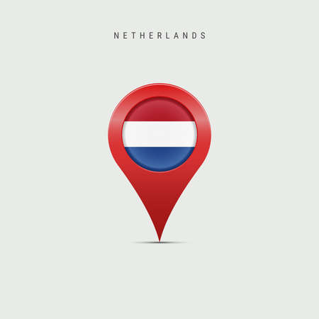 Teardrop map marker with flag of Netherlands, Holland. Dutch, Netherlandish flag inserted in the location map pin. Vector illustration isolated on light grey background.