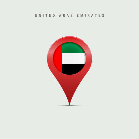 Teardrop map marker with flag of United Arab Emirates. UAE flag inserted in the location map pin. Vector illustration isolated on light grey background. Vector Illustratie