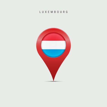 Teardrop map marker with flag of Luxembourg. Luxembourgish flag inserted in the location map pin. Vector illustration isolated on light grey background.