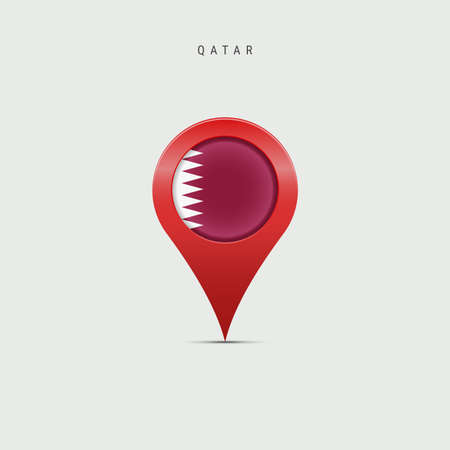 Teardrop map marker with flag of Qatar. Qatari flag inserted in the location map pin. Vector illustration isolated on light grey background.