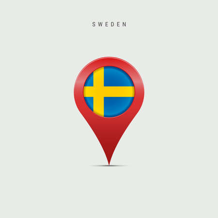 Teardrop map marker with flag of Sweden. Swedish flag inserted in the location map pin. Vector illustration isolated on light grey background. Vector Illustratie