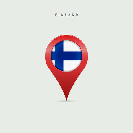 Teardrop map marker with flag of Finland. Finnish flag inserted in the location map pin. Vector illustration isolated on light grey background.