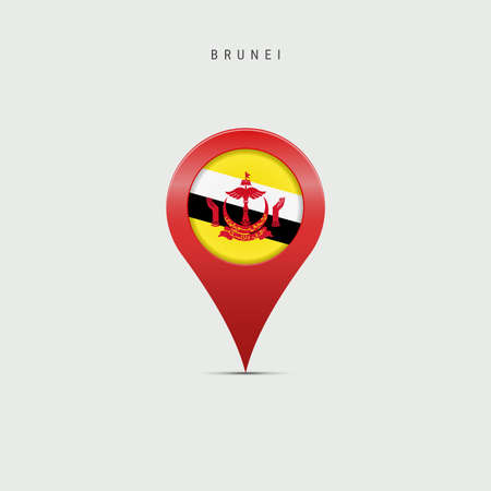 Teardrop map marker with flag of Brunei. Brunei flag inserted in the location map pin. Vector illustration isolated on light grey background. Vector Illustratie