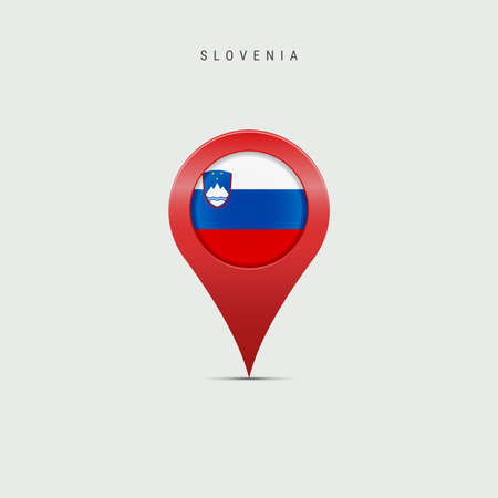 Teardrop map marker with flag of Slovenia. Slovenian flag inserted in the location map pin. Vector illustration isolated on light grey background.