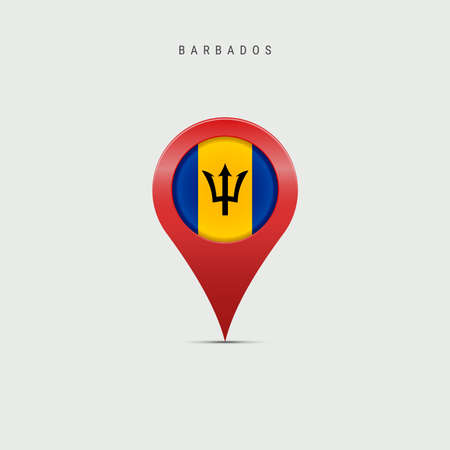 Teardrop map marker with flag of Barbados. Barbadian flag inserted in the location map pin. Vector illustration isolated on light grey background.