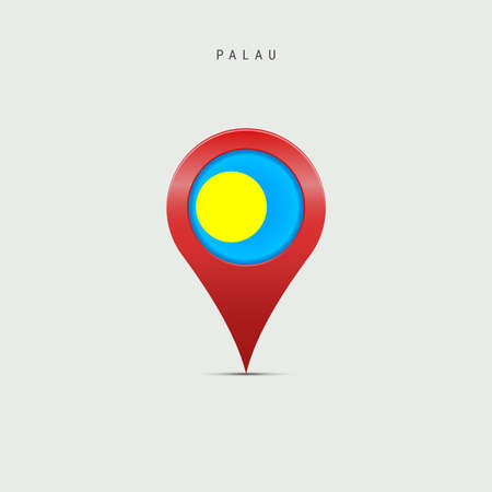Teardrop map marker with flag of Palau. Palauan flag inserted in the location map pin. Vector illustration isolated on light grey background.