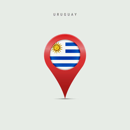 Teardrop map marker with flag of Uruguay. Uruguayan flag inserted in the location map pin. Vector illustration isolated on light grey background.