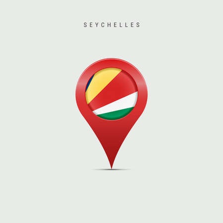 Teardrop map marker with flag of Seychelles. Republic of Seychelles flag inserted in the location map pin. Vector illustration isolated on light grey background.