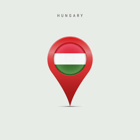 Teardrop map marker with flag of Hungary. Hungarian flag inserted in the location map pin. Vector illustration isolated on light grey background.