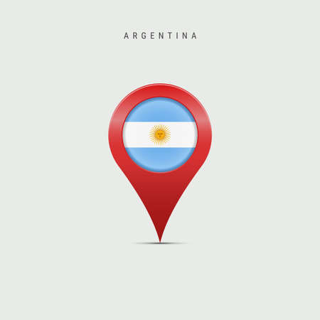 Teardrop map marker with flag of Argentina. Argentinian flag inserted in the location map pin. Vector illustration isolated on light grey background. Vector Illustratie