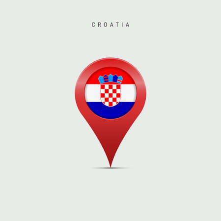 Teardrop map marker with flag of Croatia. Croatian flag inserted in the location map pin. Vector illustration isolated on light grey background. Vector Illustratie