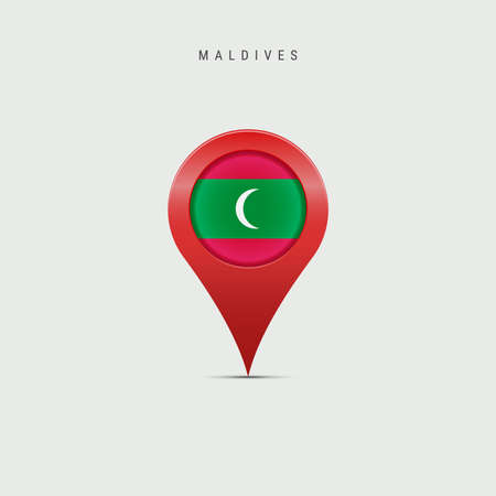 Teardrop map marker with flag of Maldives. Maldivian flag inserted in the location map pin. Vector illustration isolated on light grey background. Vector Illustratie