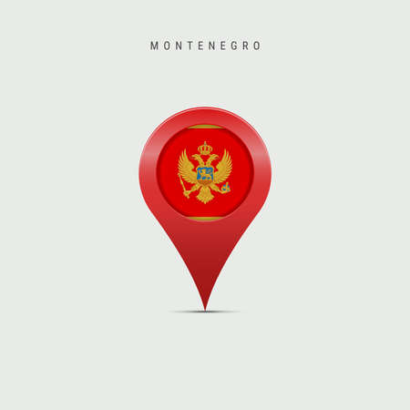Teardrop map marker with flag of Montenegro. Montenegrin flag inserted in the location map pin. Vector illustration isolated on light grey background.