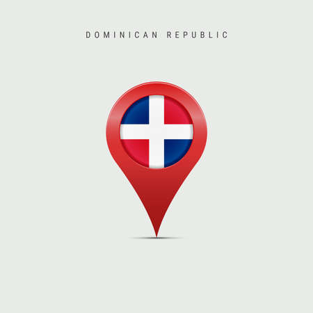 Teardrop map marker with flag of Dominican Republic. Republica Dominicana flag inserted in the location map pin. Vector illustration isolated on light grey background. Vector Illustratie