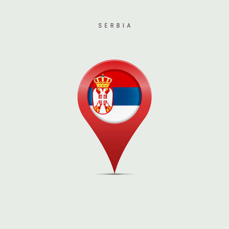 Teardrop map marker with flag of Serbia. Serbian flag inserted in the location map pin. Vector illustration isolated on light grey background. Vector Illustratie