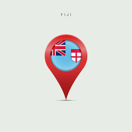Teardrop map marker with flag of Fiji. Fijian flag inserted in the location map pin. Vector illustration isolated on light grey background.