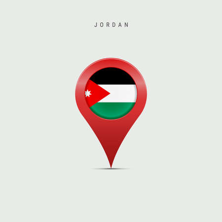 Teardrop map marker with flag of Jordan. Hashemite Kingdom of Jordan flag inserted in the location map pin. Vector illustration isolated on light grey background.