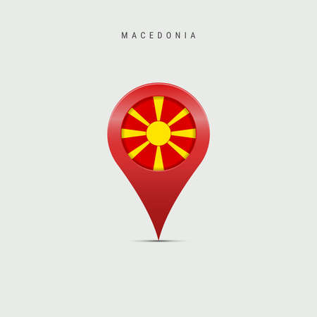 Teardrop map marker with flag of Macedonia. Macedonian flag inserted in the location map pin. Vector illustration isolated on light grey background. Vector Illustratie