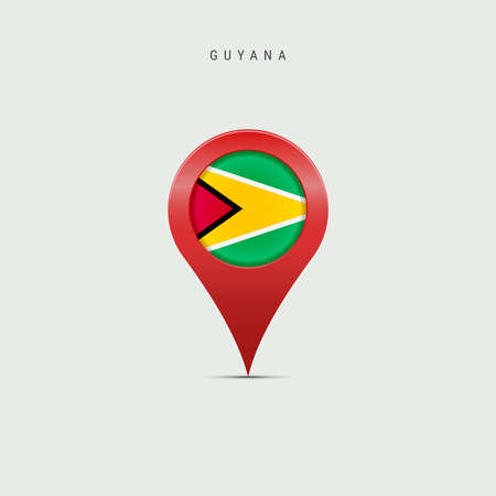 Teardrop map marker with flag of Guyana. Guyanese flag inserted in the location map pin. Vector illustration isolated on light grey background. Vector Illustratie