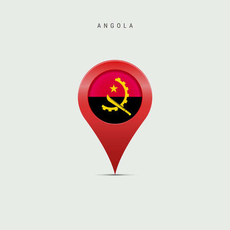 Teardrop map marker with flag of Angola. Angolan flag inserted in the location map pin. Vector illustration isolated on light grey background.