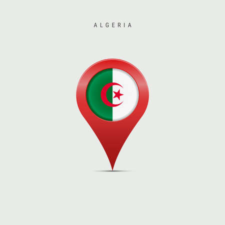 Teardrop map marker with flag of Algeria. Algerian flag inserted in the location map pin. Vector illustration isolated on light grey background. Vector Illustratie