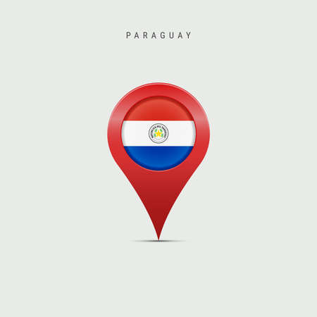 Teardrop map marker with flag of Paraguay. Paraguayan flag inserted in the location map pin. Vector illustration isolated on light grey background.