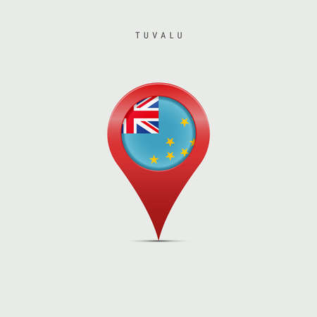 Teardrop map marker with flag of Tuvalu. Ellice Islands flag inserted in the location map pin. Vector illustration isolated on light grey background.