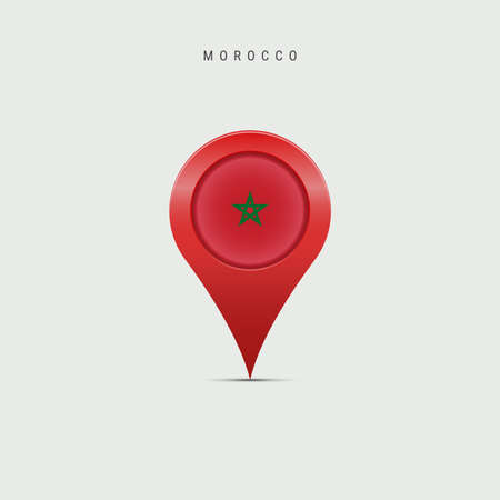Teardrop map marker with flag of Morocco. Moroccan flag inserted in the location map pin. Vector illustration isolated on light grey background.