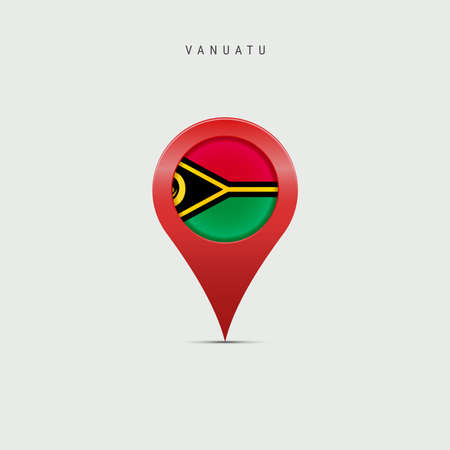 Teardrop map marker with flag of Vanuatu. Vanuatuan flag inserted in the location map pin. 3D vector illustration isolated on light grey background.