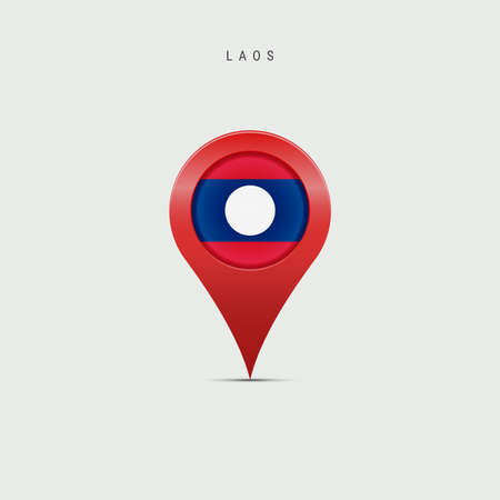 Teardrop map marker with flag of Laos. Laotian flag inserted in the location map pin. 3D vector illustration isolated on light grey background.
