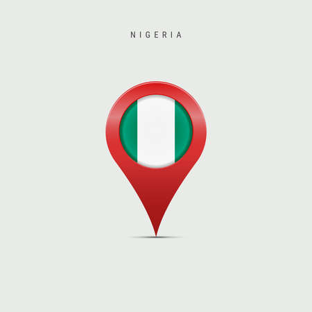 Teardrop map marker with flag of Nigeria. Nigerian flag inserted in the location map pin. 3D vector illustration isolated on light grey background.