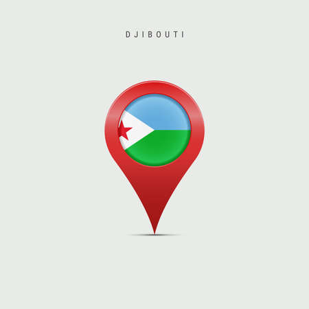 Teardrop map marker with flag of Djibouti. Djiboutian flag inserted in the location map pin. 3D vector illustration isolated on light grey background.