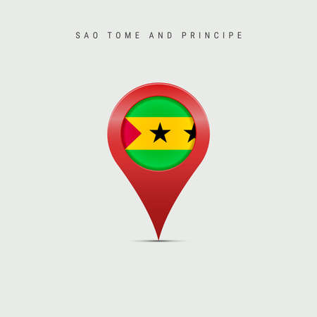 Teardrop map marker with flag of Sao Tome and Principe. Saint Thomas and Prince flag inserted in the location map pin. 3D vector illustration isolated on light grey background.