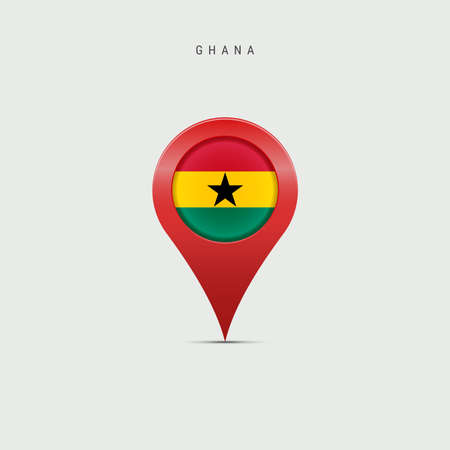 Teardrop map marker with flag of Ghana. Ghanaian flag inserted in the location map pin. 3D vector illustration isolated on light grey background. Vector Illustratie
