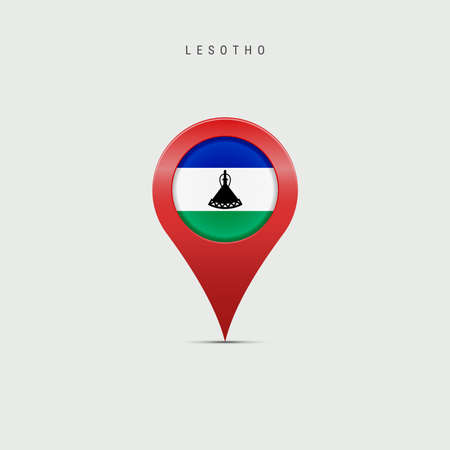 Teardrop map marker with flag of Lesotho. Kingdom of Lesotho flag inserted in the location map pin. 3D vector illustration isolated on light grey background.