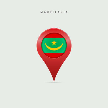 Teardrop map marker with flag of Mauritania. Mauritanian flag inserted in the location map pin. 3D vector illustration isolated on light grey background.