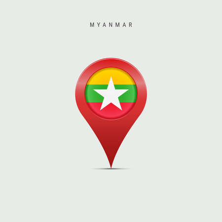 Teardrop map marker with flag of Myanmar. Burma flag inserted in the location map pin. 3D vector illustration isolated on light grey background.