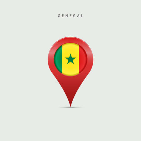 Teardrop map marker with flag of Senegal. Senegalese flag inserted in the location map pin. 3D vector illustration isolated on light grey background.