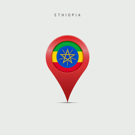 Teardrop map marker with flag of Ethiopia. Ethiopian flag inserted in the location map pin. 3D vector illustration isolated on light grey background.