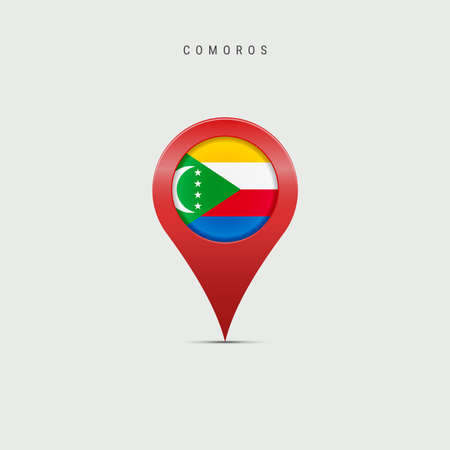 Teardrop map marker with flag of Comoros. Union of the Comoros flag inserted in the location map pin. 3D vector illustration isolated on light grey background.