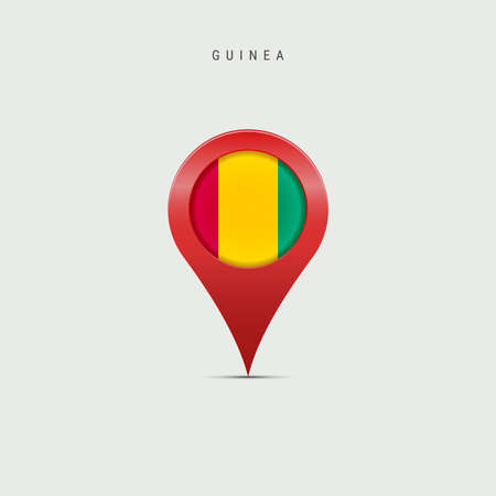 Teardrop map marker with flag of Guinea. Republic of Guinea flag inserted in the location map pin. 3D vector illustration isolated on light grey background.