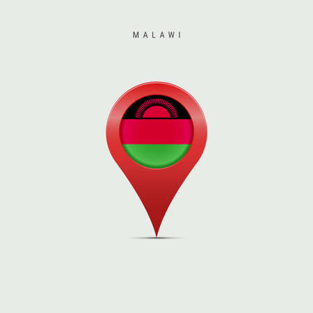 Teardrop map marker with flag of Malawi. Malawian flag inserted in the location map pin. 3D vector illustration isolated on light grey background.