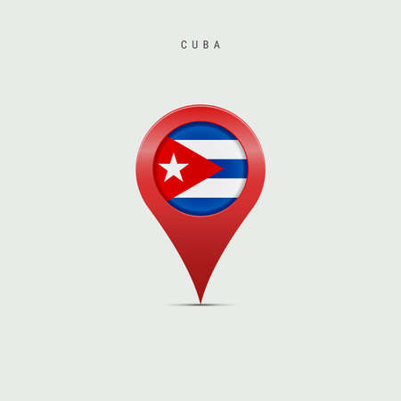 Teardrop map marker with flag of Cuba. Cuban flag inserted in the location map pin. 3D vector illustration isolated on light grey background. Vector Illustratie
