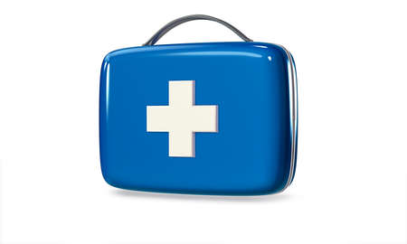 crosscountry: 3D Blue First Aid Kit. Isolated Medical Equipment Background.