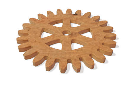 Isolated 3D Wood Machine Gear. Industry Concept Background.