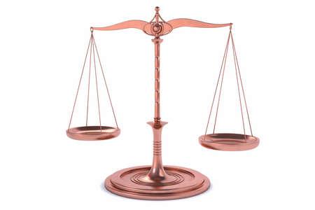 balanza en equilibrio: 3D Equilibrio aislada o fondo de escala para la medida. Justicia, ley o decisiones concepto. Foto de archivo